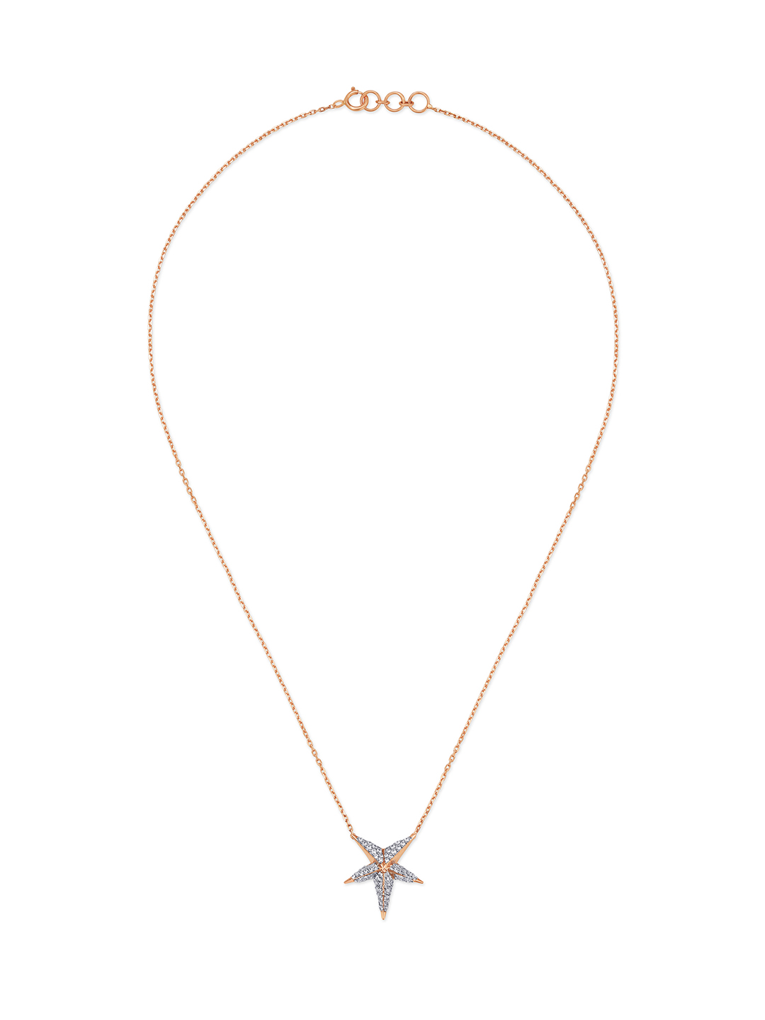 Mia Glam by Tanishq 14-Karat Rose Gold Cubic Zirconia Neckwear with Star Design Price in India