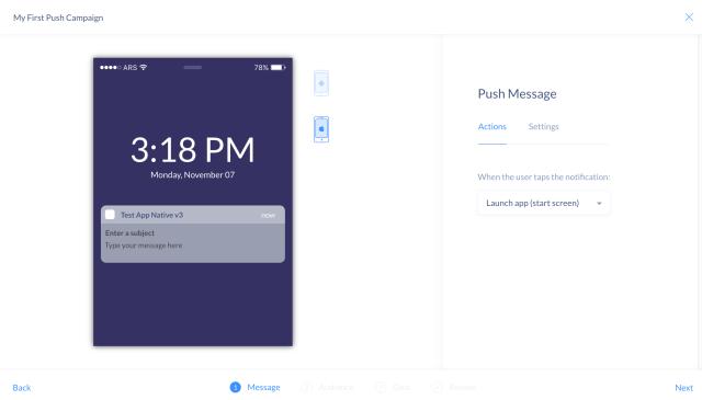 Push message editor