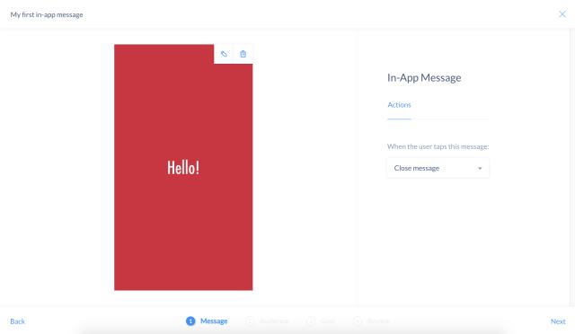 In-app message editor
