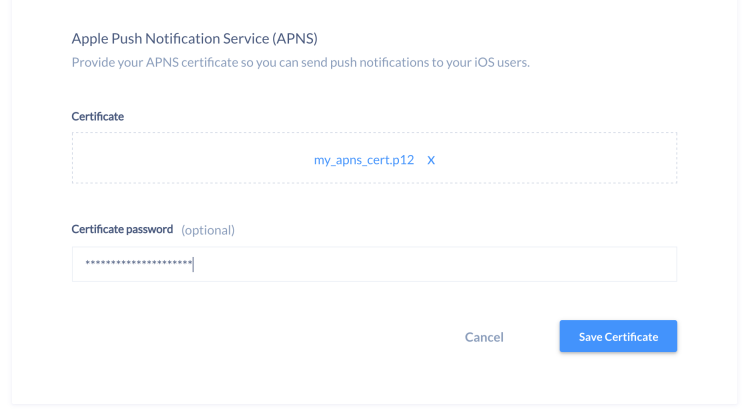 Upload APNs certificate