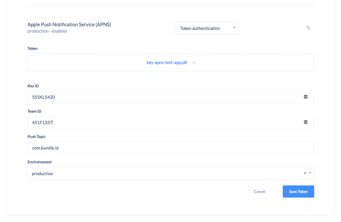 Upload APNs Tokens via UI