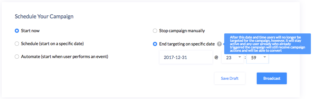 Set an end-date for short-lived campaigns