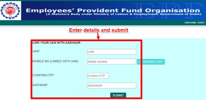How to link Aadhaar to EPF Online without login?