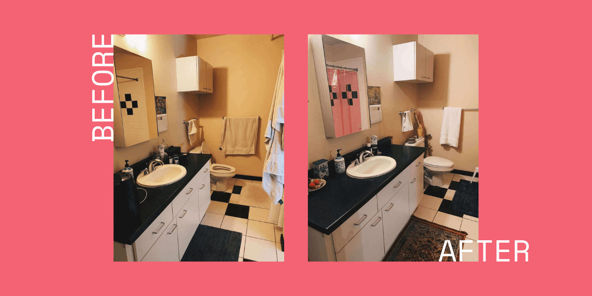 before and after collage of the bathroom makeover with a pink background