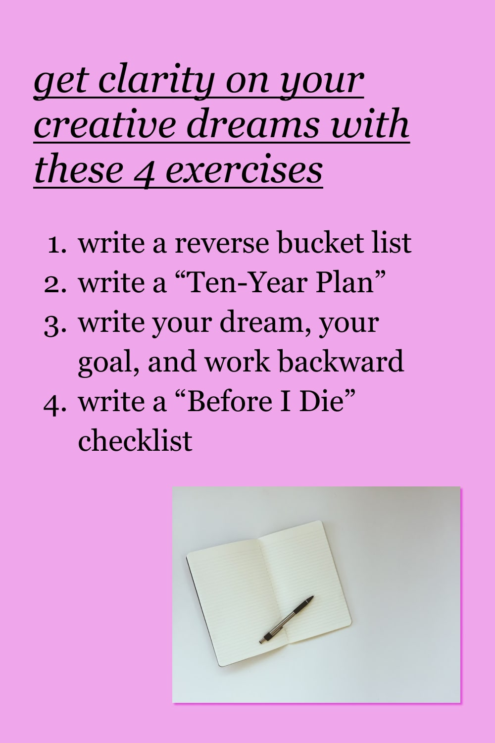 pink background with list of four exercises for creative visioning and notebook flat lay image