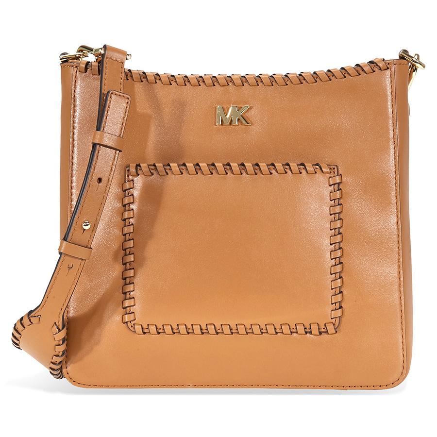 2db26f40aeb5 Michael Kors Gloria Whipstitched Leather Messenger Bag- Acorn ...
