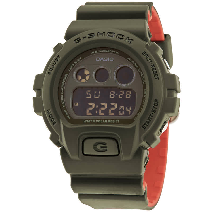 58376f0630d Casio G-Shock Military Olive Green and Orange Digital Watch DW-6900LU-3CR
