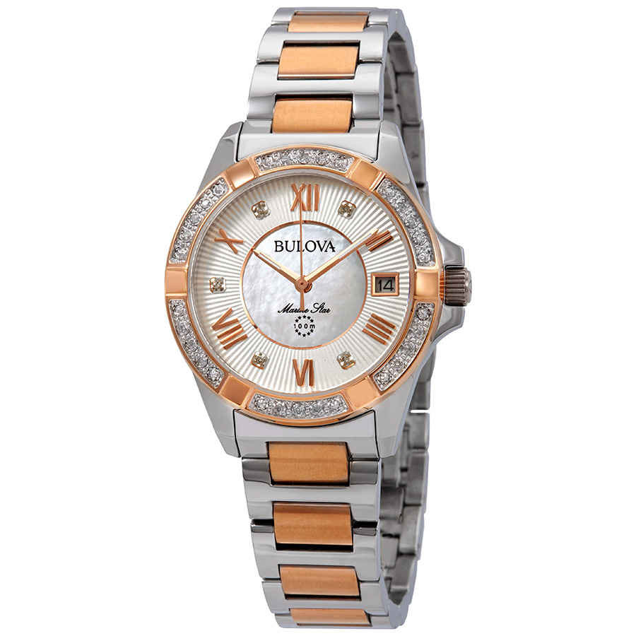 378ed5eeb08 Bulova Marine Star Diamond White Mother of Pearl Dial Ladies Watch 98R234