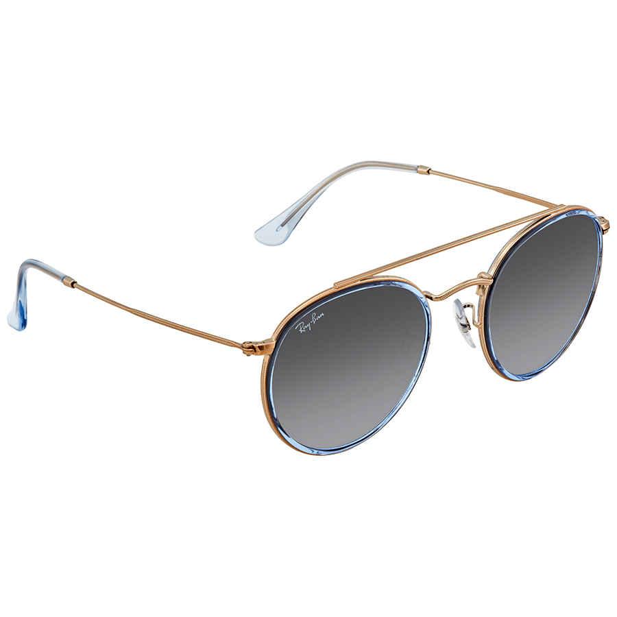 c1c5cef2b73c2 Ray Ban Round Double Bridge Grey Gradient Sunglasses RB3647N 906771 ...