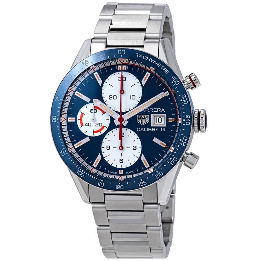 15b6c42fc8a Tag Heuer Carrera Blue Dial Automatic Men's Chronograph Watch CV201AR.BA0715