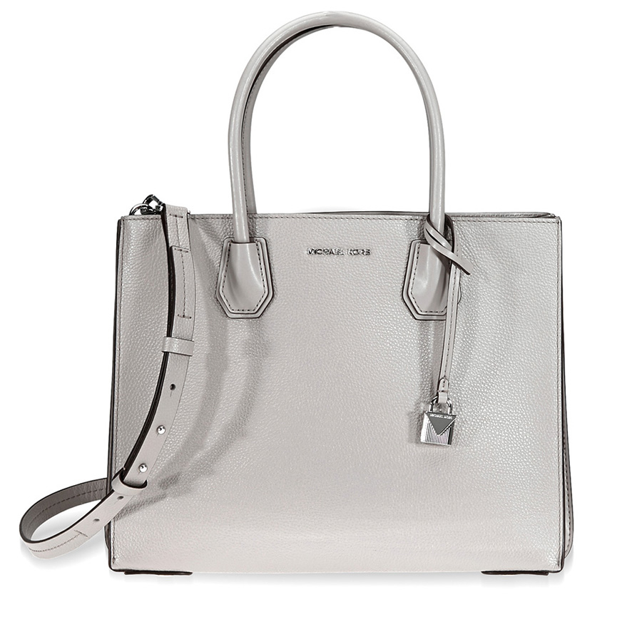 Michael Kors Mercer Large Pebbled Leather Tote - Pearl Grey ... 6a627b14c1a3e