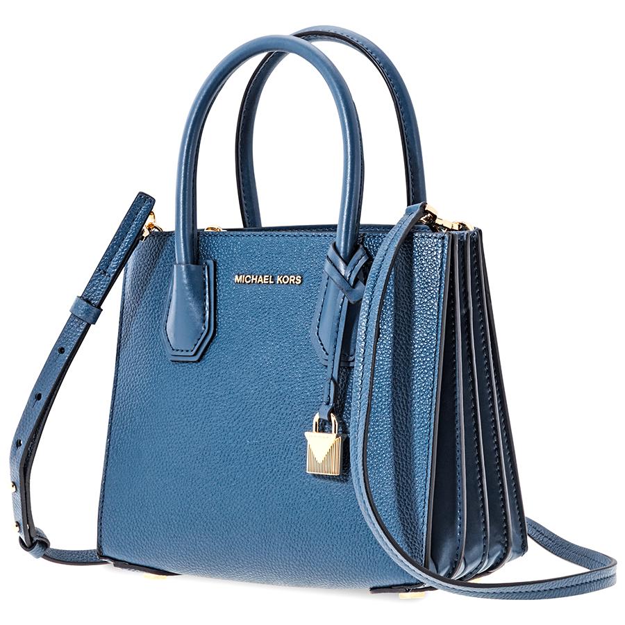 Details about Michael Kors Mercer Medium Leather Crossbody Bag, Admiral Blue =Ebay SALE=
