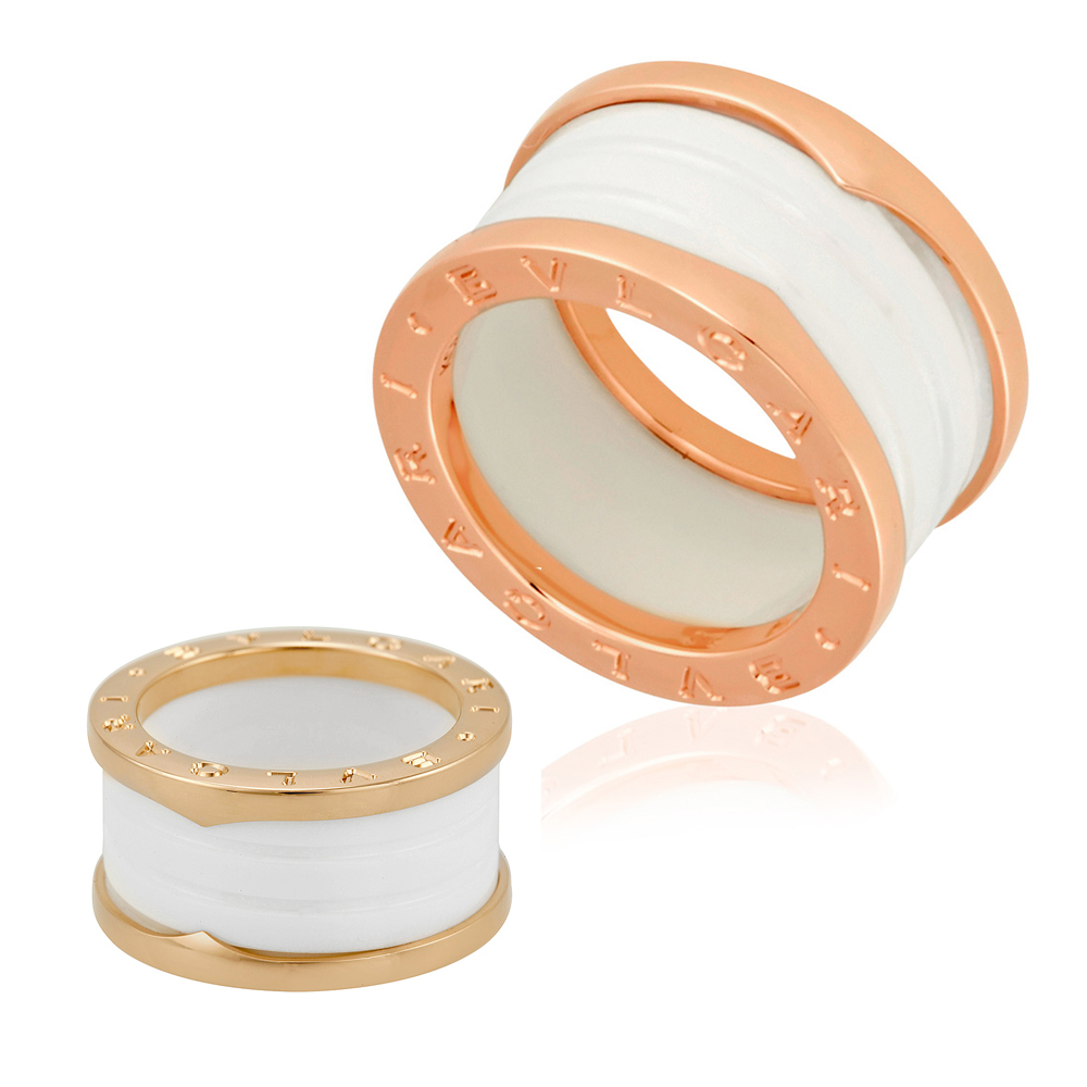 16729b91b14 Bvlgari B.Zero1 18K Pink Gold And White Ceramic 4-Band Ring - Choose ...
