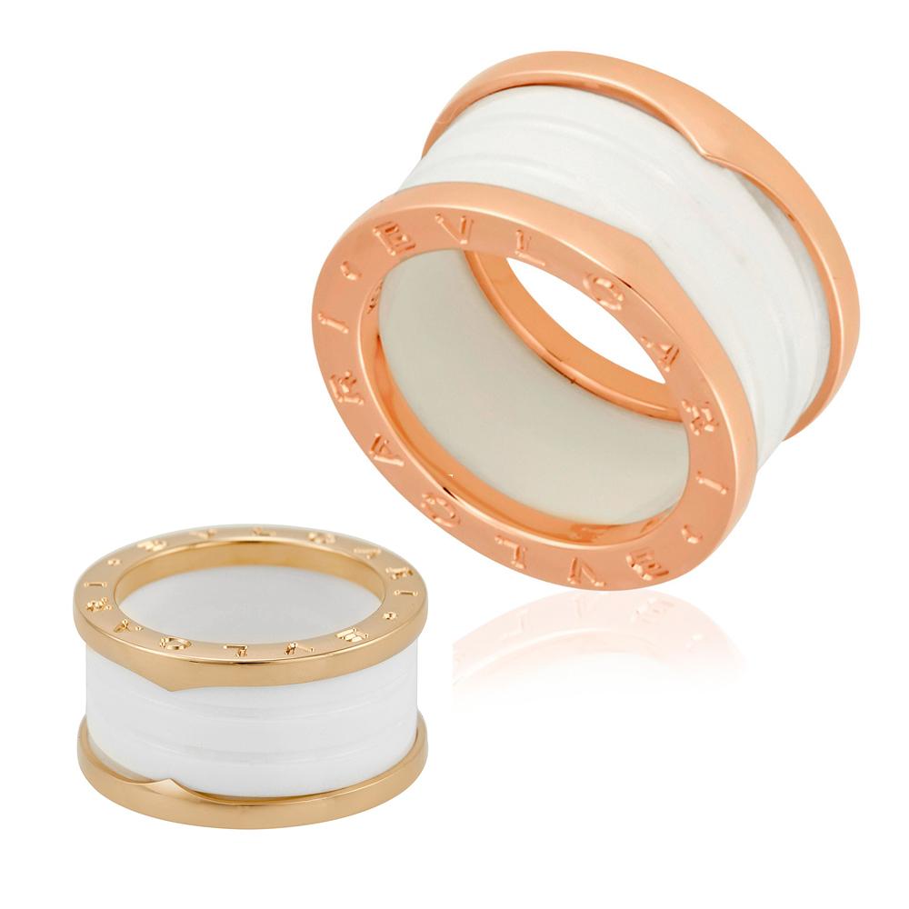 974400ceb44 Bvlgari B.Zero1 18K Pink Gold And White Ceramic 4-Band Ring - Choose ...