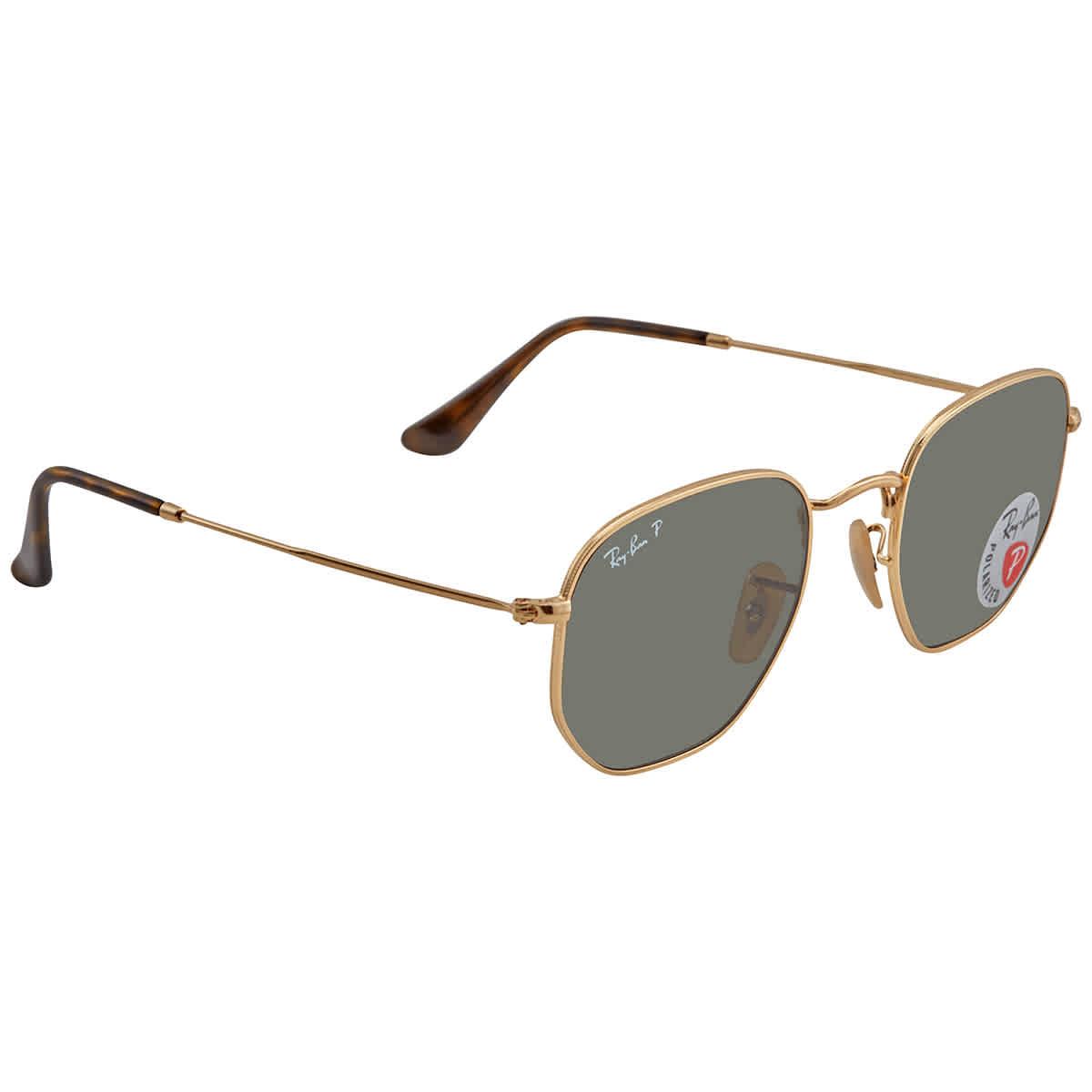 Ray Ban Polarized Unisex Green Hexagonal Sunglasses RB3548N 001/58 51