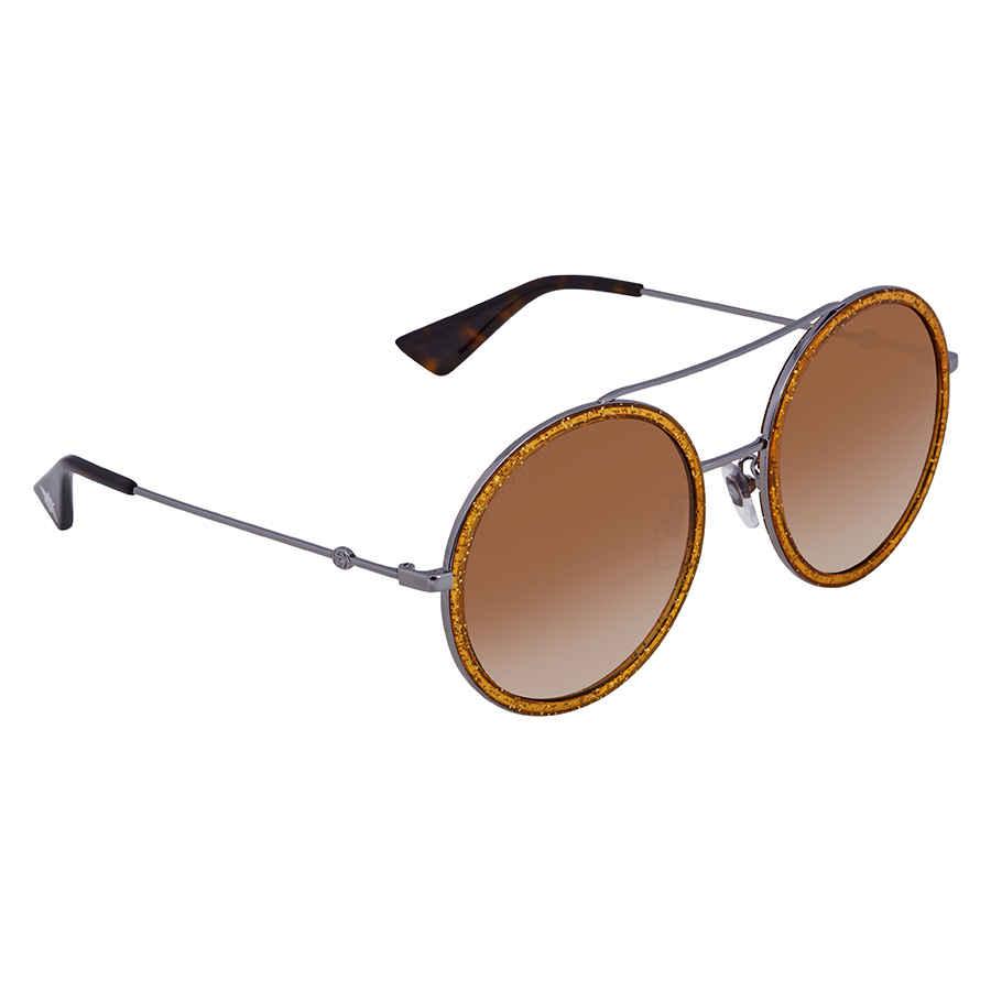 7aeb4ae572a Gucci Round Silver-Gold Glitter Ladies Sunglasses GG0061S 011 56 ...