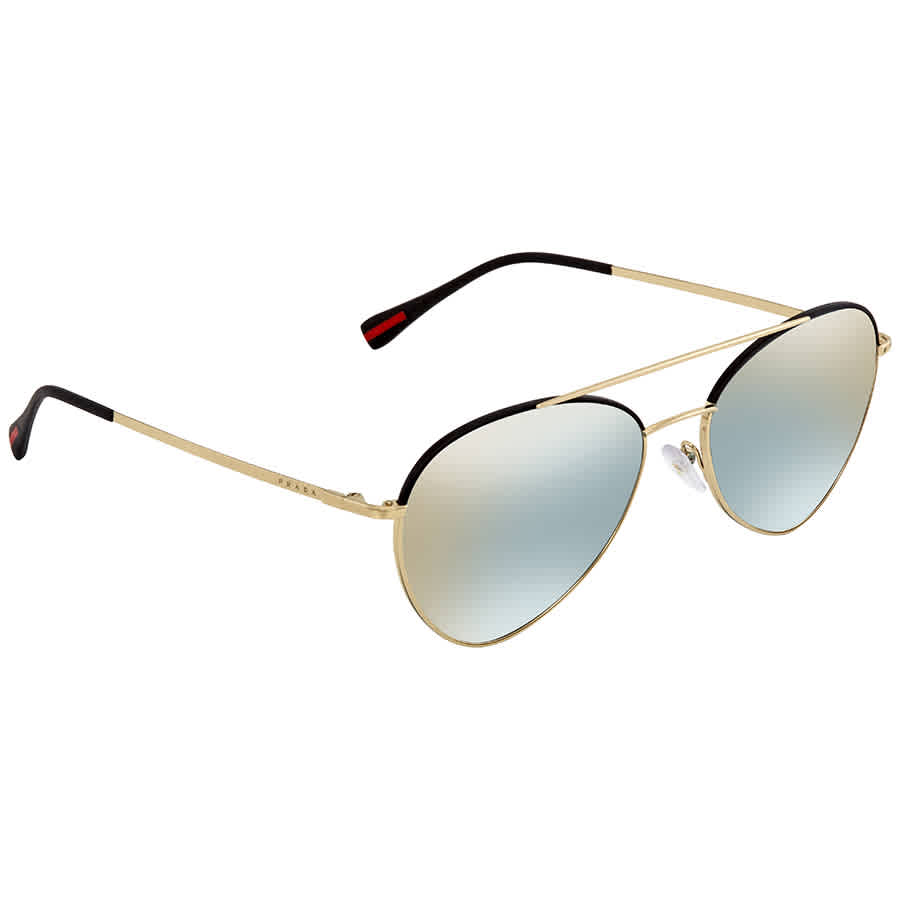 51ab9cf3e0 Prada Linea Rossa Azure Flash Gold Oval Men s Sunglasses PR PS50SS AAV298 57