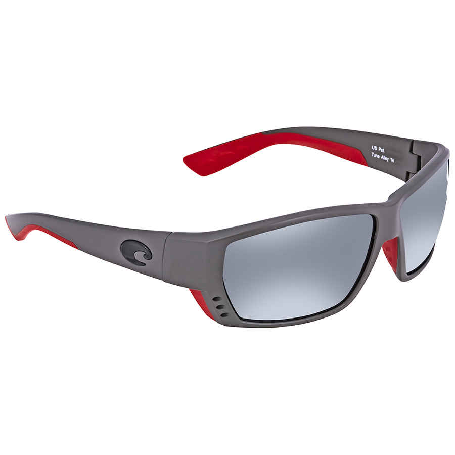 89290106c1 Costa Del Mar Tuna Alley Grey Silver Mirror 580G Rectangular Sunglasses TA  196 OSGGLP