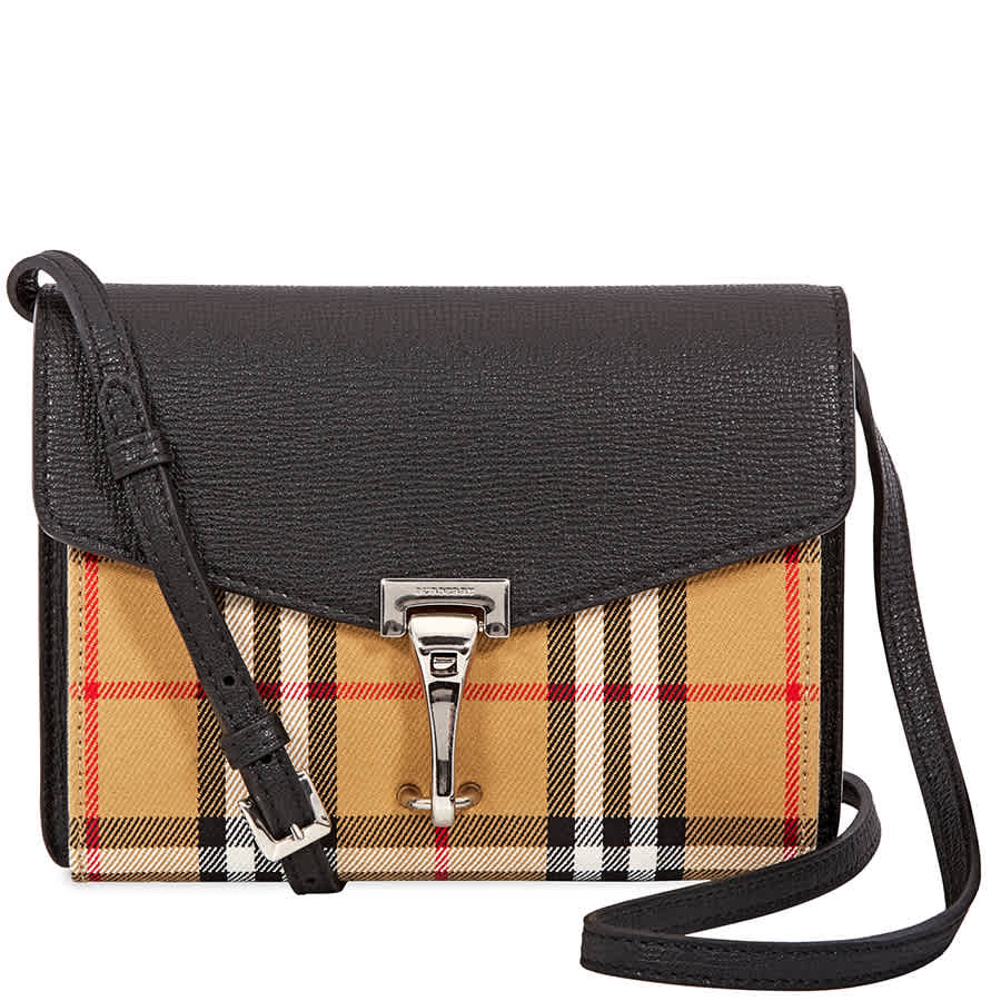 Details about Burberry Mini Leather and Vintage Check Crossbody Bag- Black  4079965 230c09eab8311