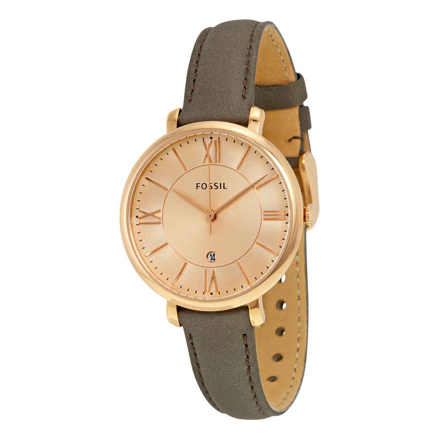 e6057675d18f Fossil Jacqueline Rose Dial Grey Leather Strap Ladies Watch ES3707 ...