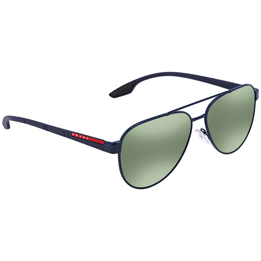 a787337cbc Prada Linea Rossa Green Mirror Aviator Men s Sunglasses PR PS54TS 7AN213 58