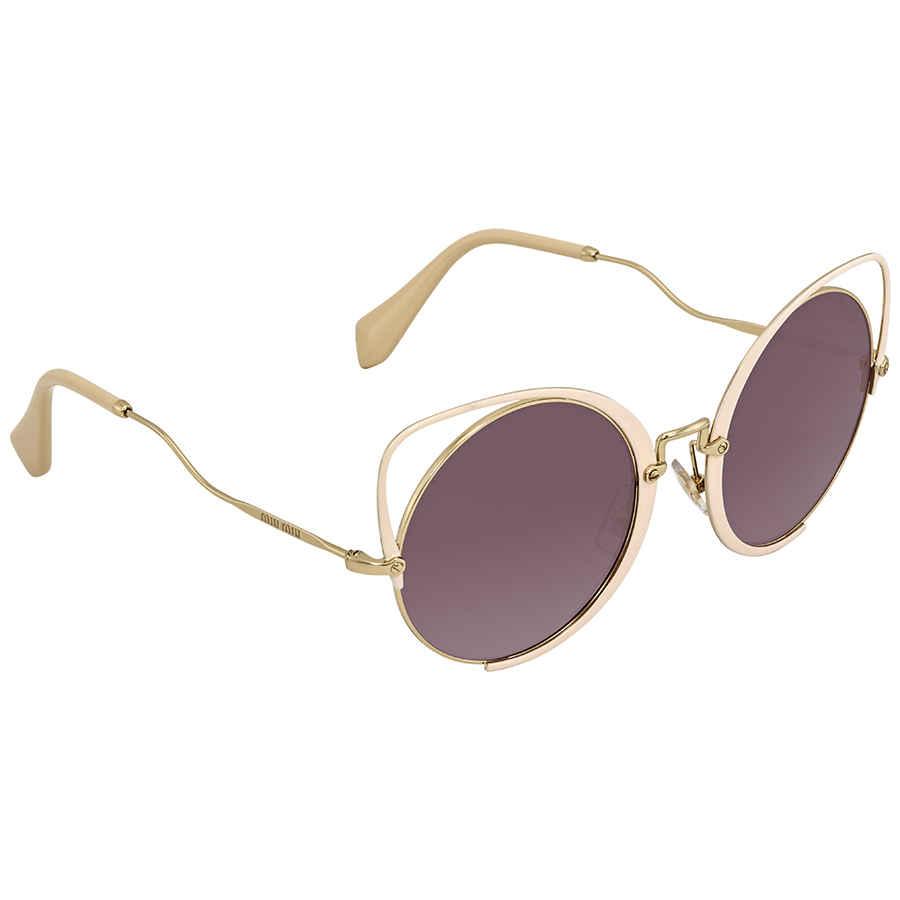 dbb4a4d5045 Miu Miu Gradient Violet Mirror Silver Round Sunglasses MU 51TS 4UD085 54