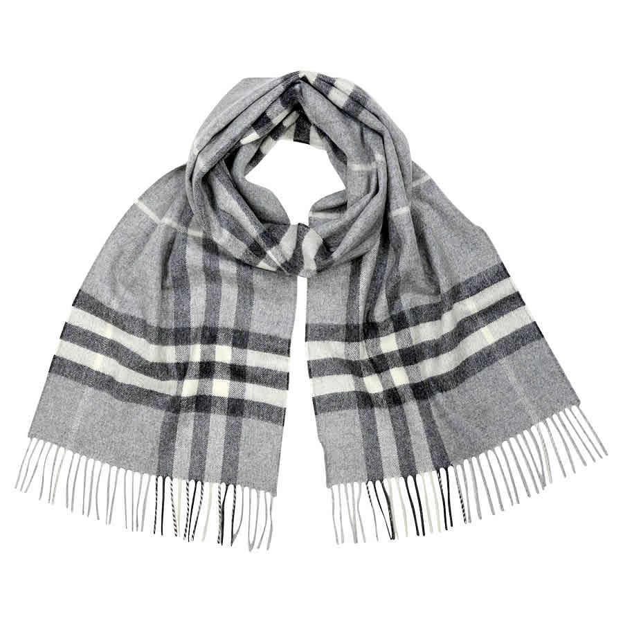 Burberry Classic Cashmere Scarf in Check - Pale Grey 5045490712212 ... 53552b494d