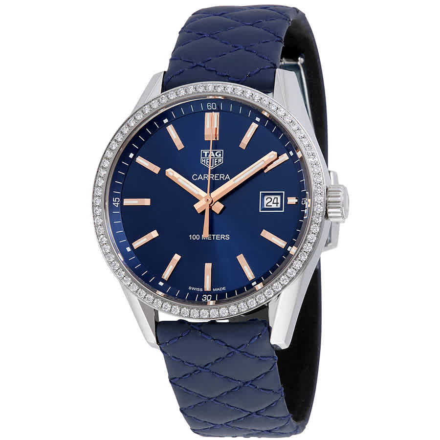 fcf42e85177aa Tag Heuer Carrera Navy Blue Dial Diamond Bezel Ladies Watch WAR1114.FC6391
