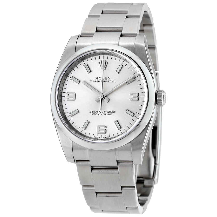 c64ee9c7e777 Rolex Oyster Perpetual 34 Silver Dial Stainless Steel Bracelet Automatic  Men s Watch 114200SASO
