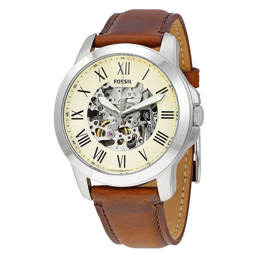 7fae1d9c0 Fossil Grant Automatic Beige Skeleton Dial Men's Watch ME3099 ...