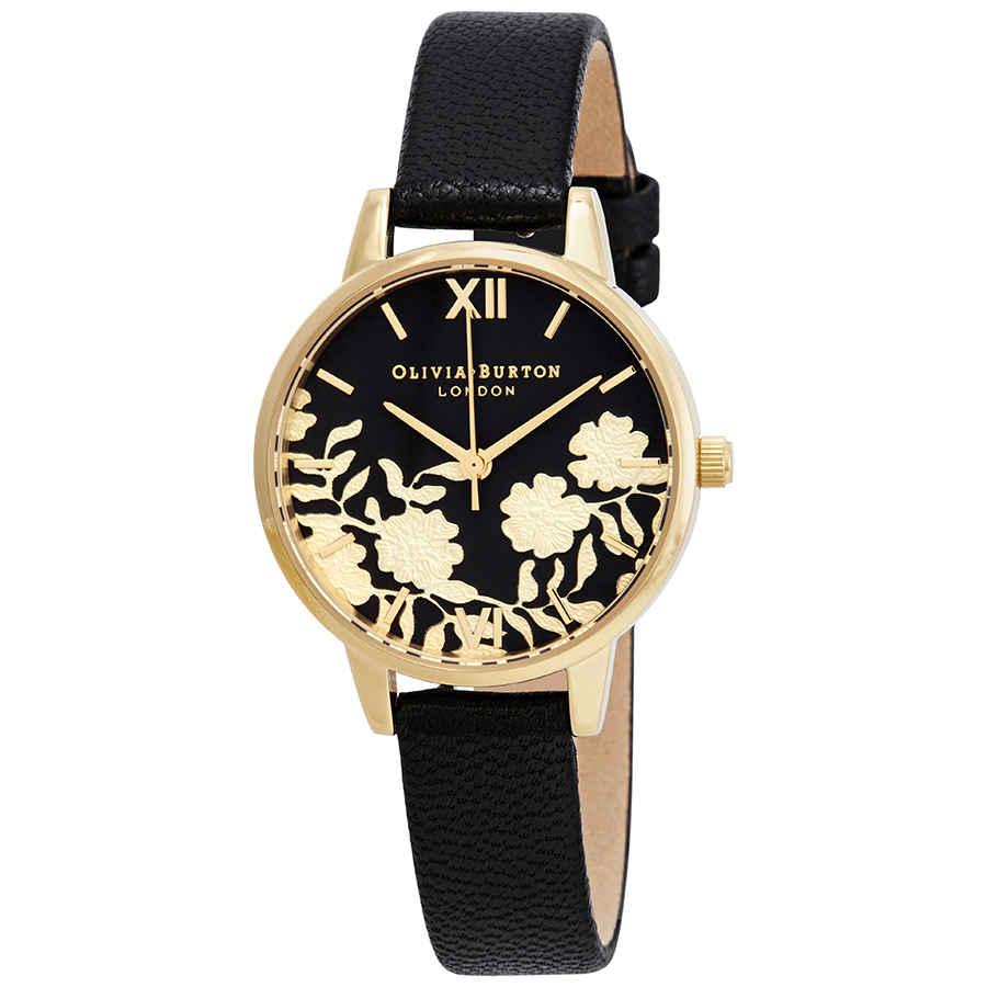 3ba7dceda Olivia Burton Lace Detail Black Dial Ladies Watch OB16MV60 ...