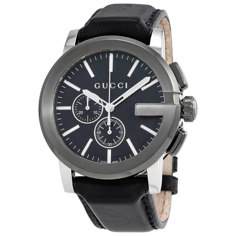 19ccb5778b4 Gucci G-Chrono Black Dial Black Leather Men s Watch YA101205