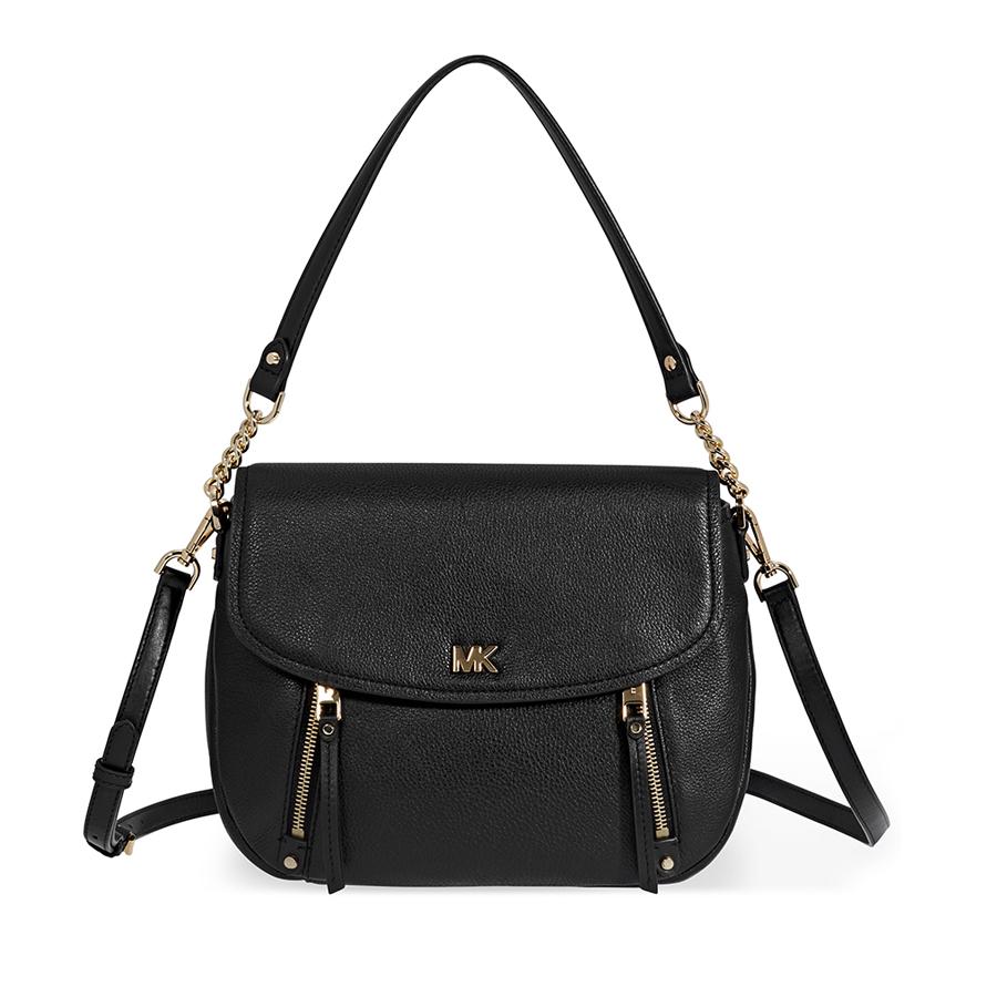 00ef64acdb95 Michael Kors Evie Medium Learher Shoulder Bag- Black 192317308303