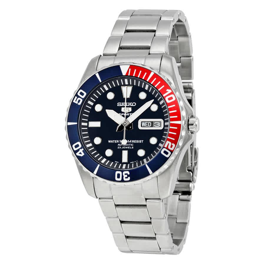 e30145843 Seiko 5 Dark Blue Dial Diver Stainless Steel Automatic Pepsi Bezel Men's  Watch