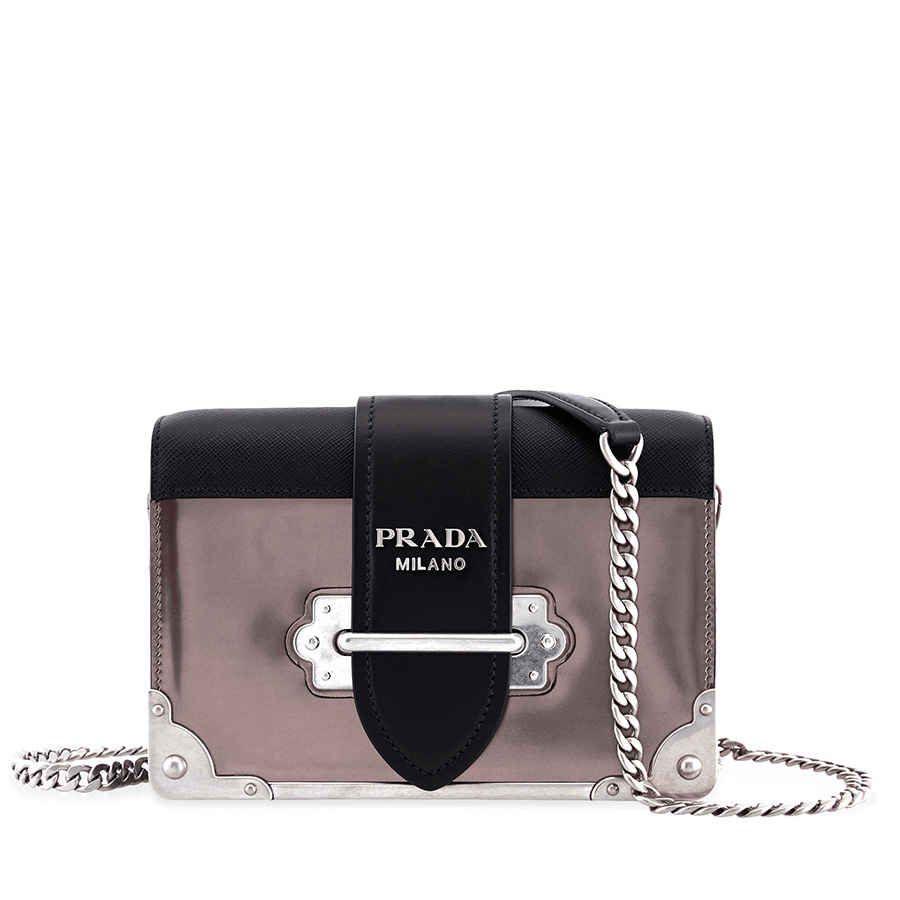 Prada Small Leather Crossbody Bag- Iron Grey Black ... 6e5016032253b