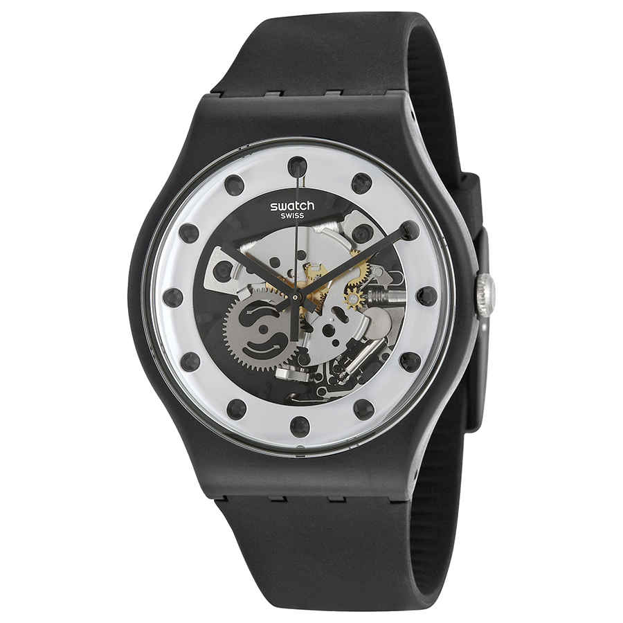b3495bdc4d9 Swatch Originals Silver Glame Skeleton Dial Black Silicone Men s Watch  SUOZ147