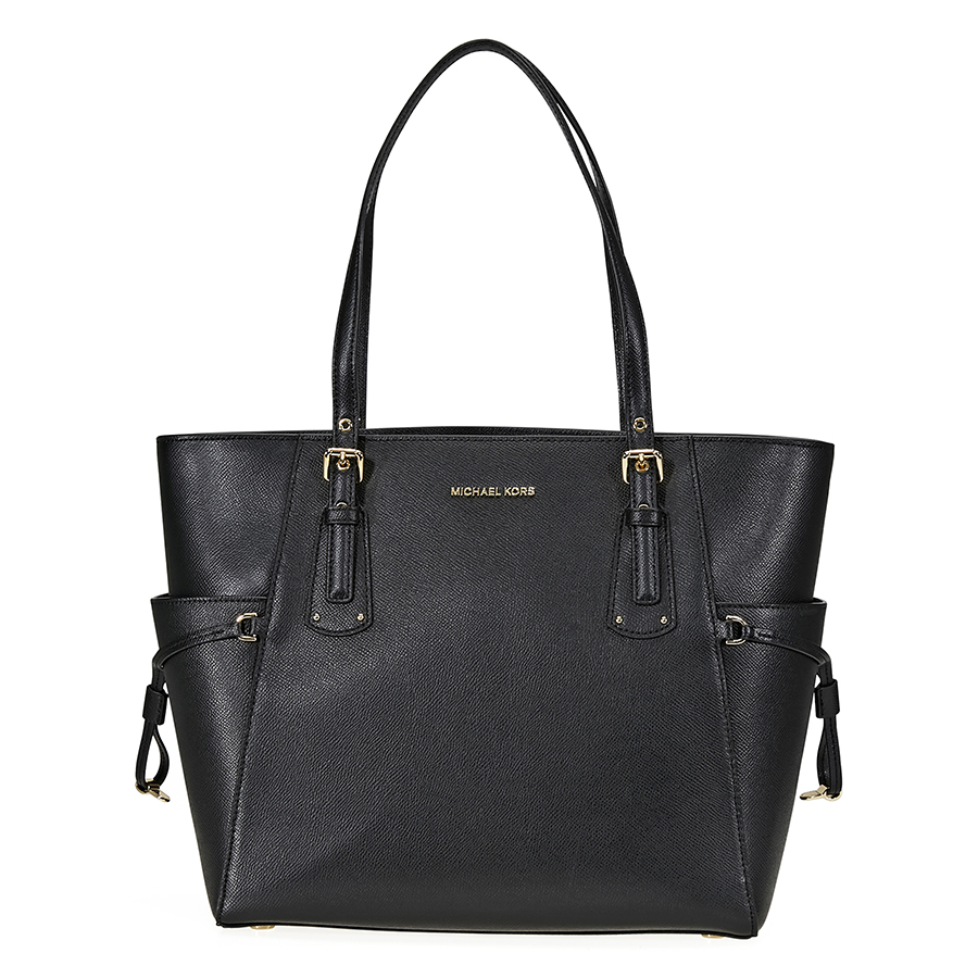 2b2d88a09c56 Michael Kors Voyager Textured Crossgrain Leather Tote- Black ...