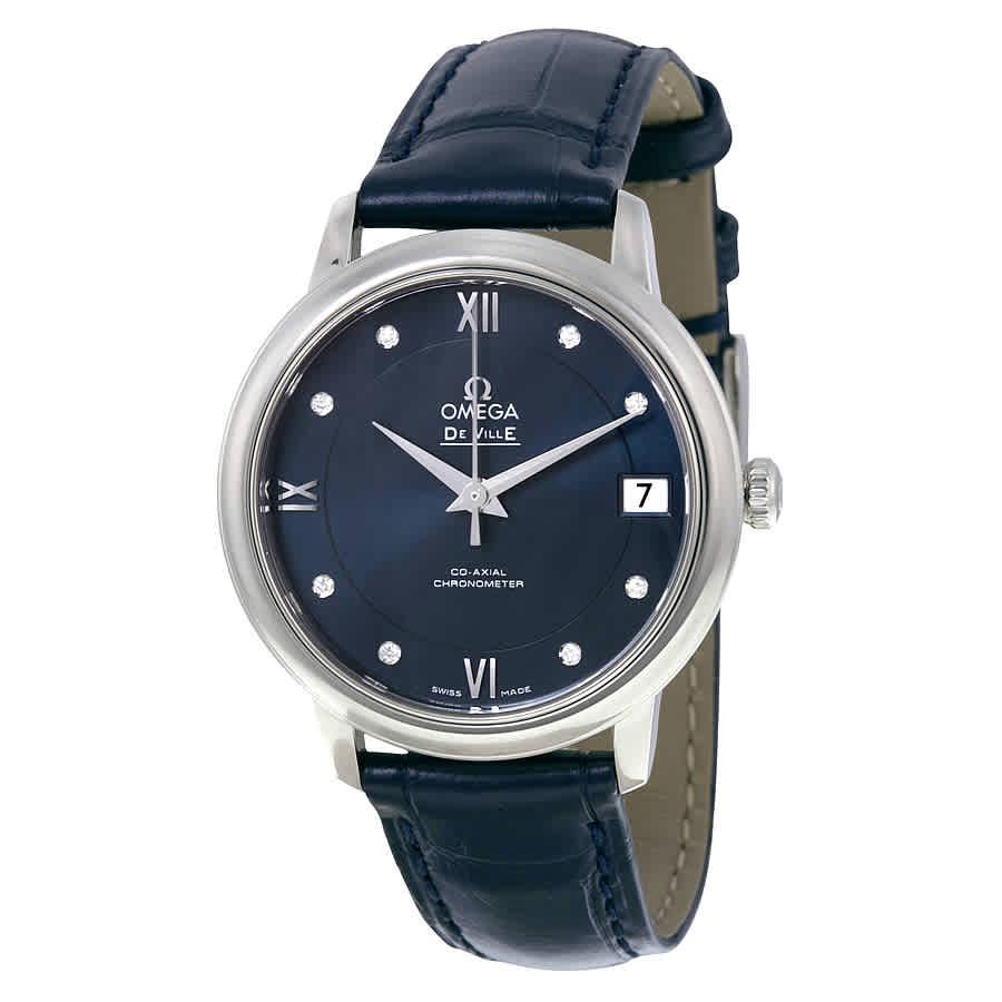 1df8c8d08639 Omega De Ville Prestige Automatic Blue Diamond Dial Ladies Watch  42413332053001