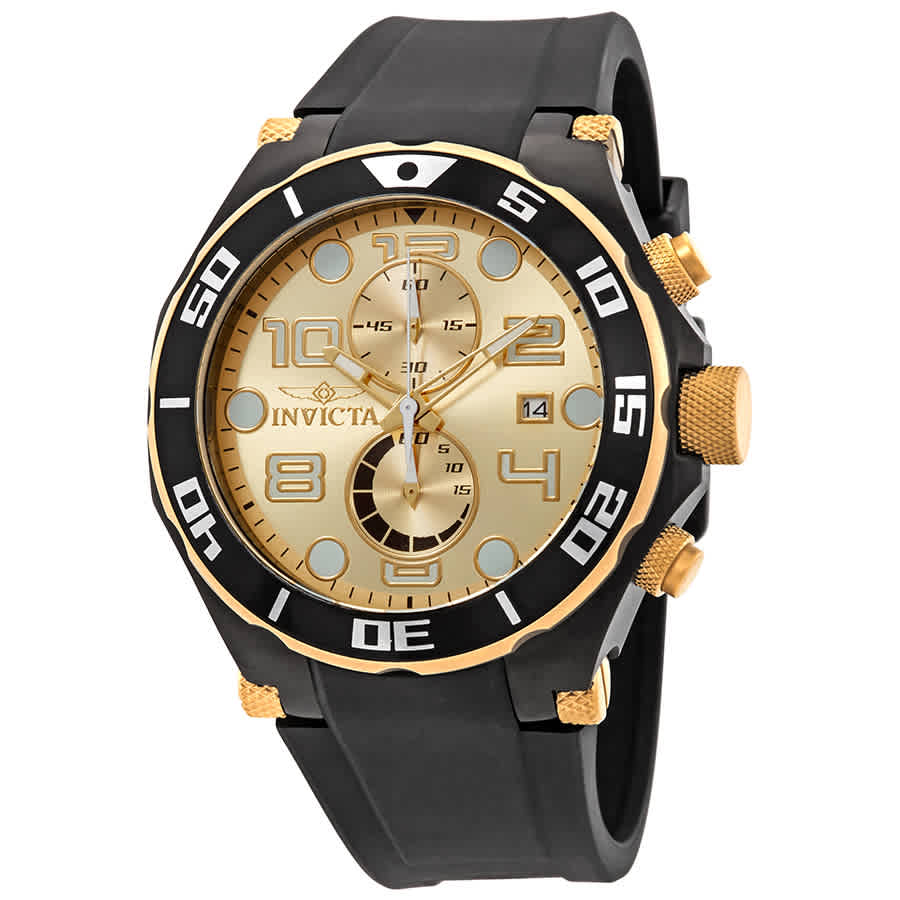 b82367d42ee Invicta Pro Diver Chronograph Champagne Dial Black Polyurethane Men s Watch