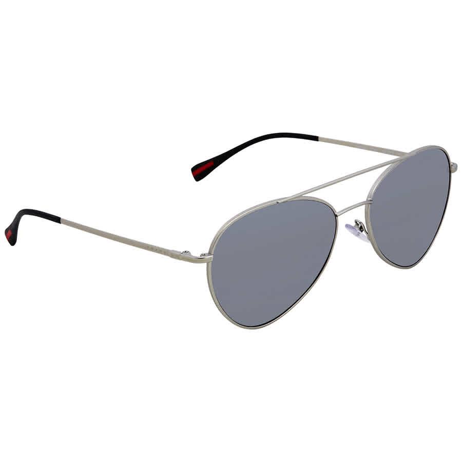 2f9f1d0f88 Prada Polarized Grey Mirror Gradient Silver 57 mm Aviator Sunglasses PS  50SS 1AP2F2 57