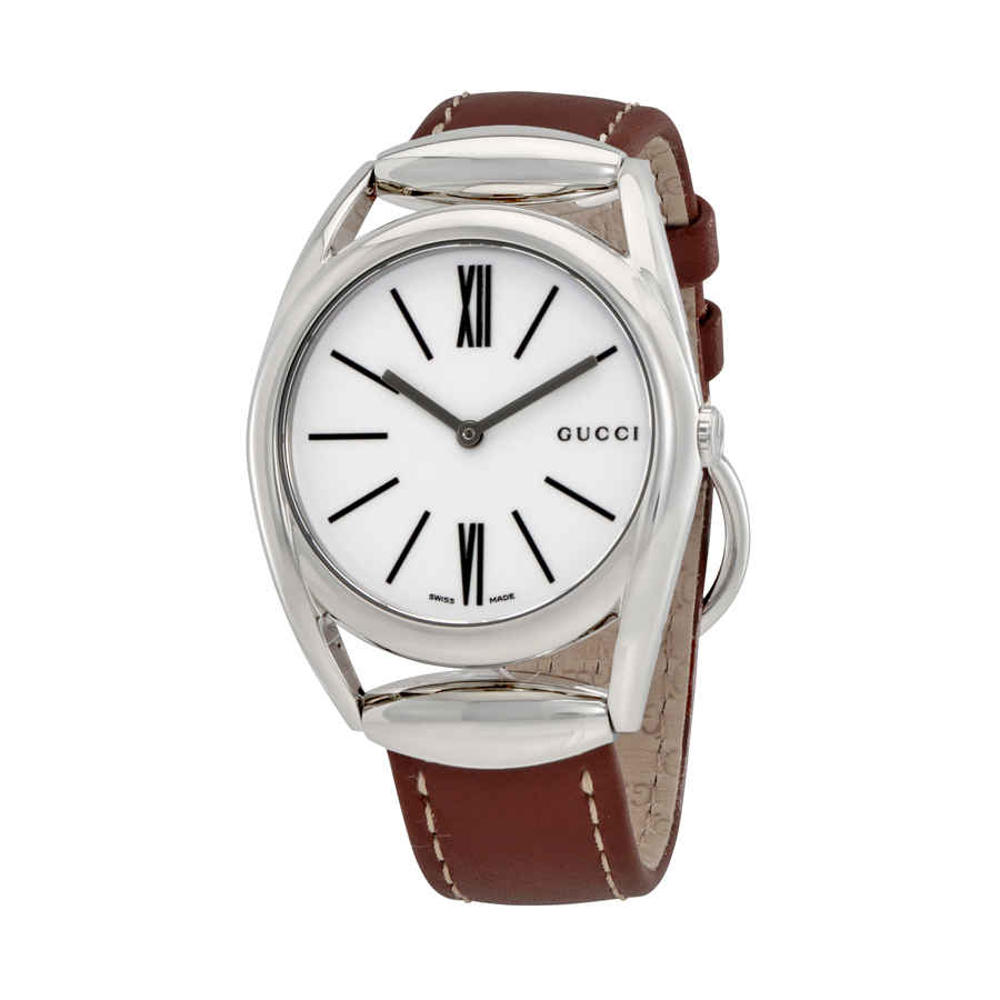 f252ebe1971 Gucci Horsebit Silver Dial Brown Leather Ladies Watch YA140402 ...