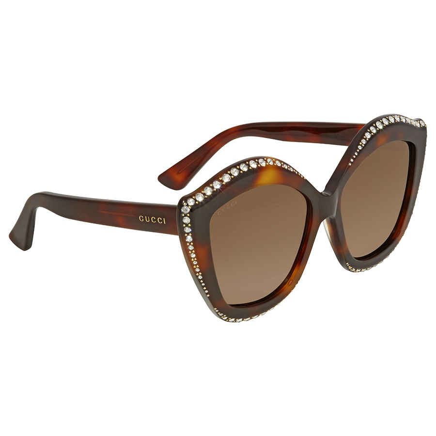fe8463be0b1 Gucci Swarovski Clear Crystal Trim Brown Cat Eye Ladies Sunglasses  GG0118S-003 53