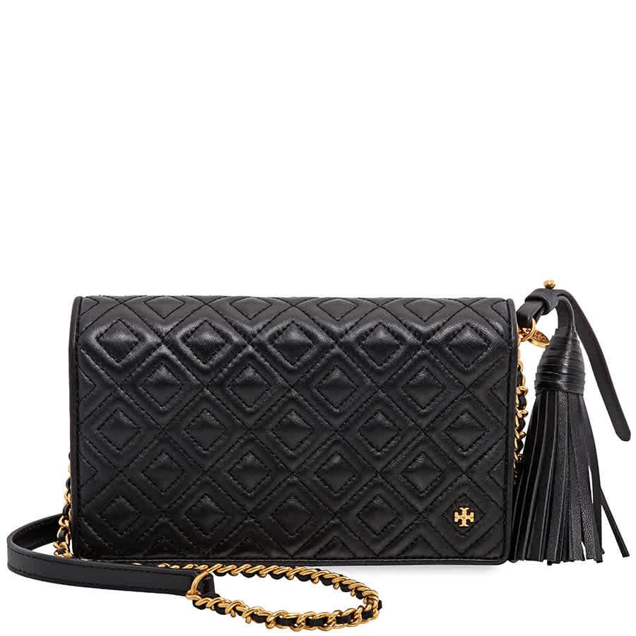 61b8b7a0052b7 Tory Burch Fleming Flat Wallet Crossbody Bag- Black 46449-001 ...