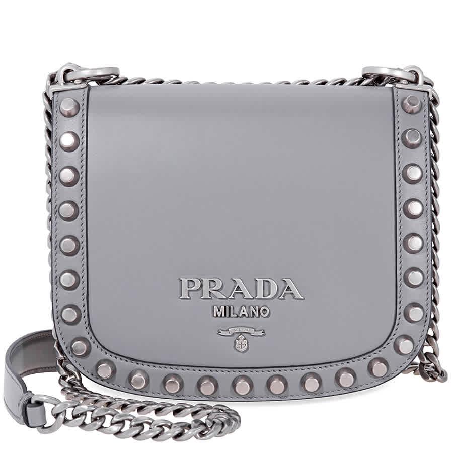 965f3edd60ab Prada Pionniere Medium Leather Crossbody - Grey 1BD039UBC2AIX/D ...