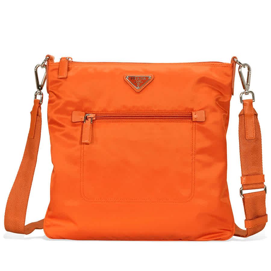 b3b36945c645 Prada Nylon and Leather Crossbody Bag- Orange BT0715F0S73 ...