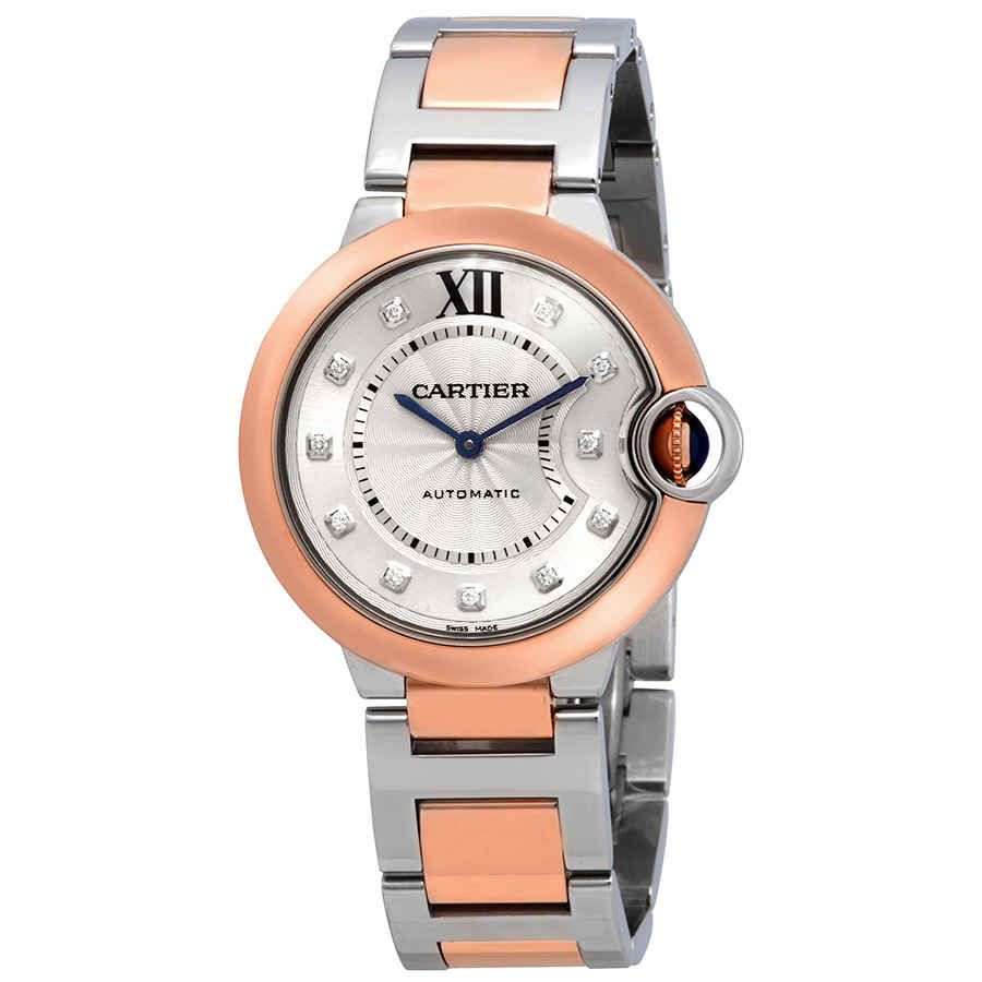 0426483dfe74 Cartier Ballon Bleu Automatic Diamond Dial Ladies Steel and 18kt Rose Gold  Watch
