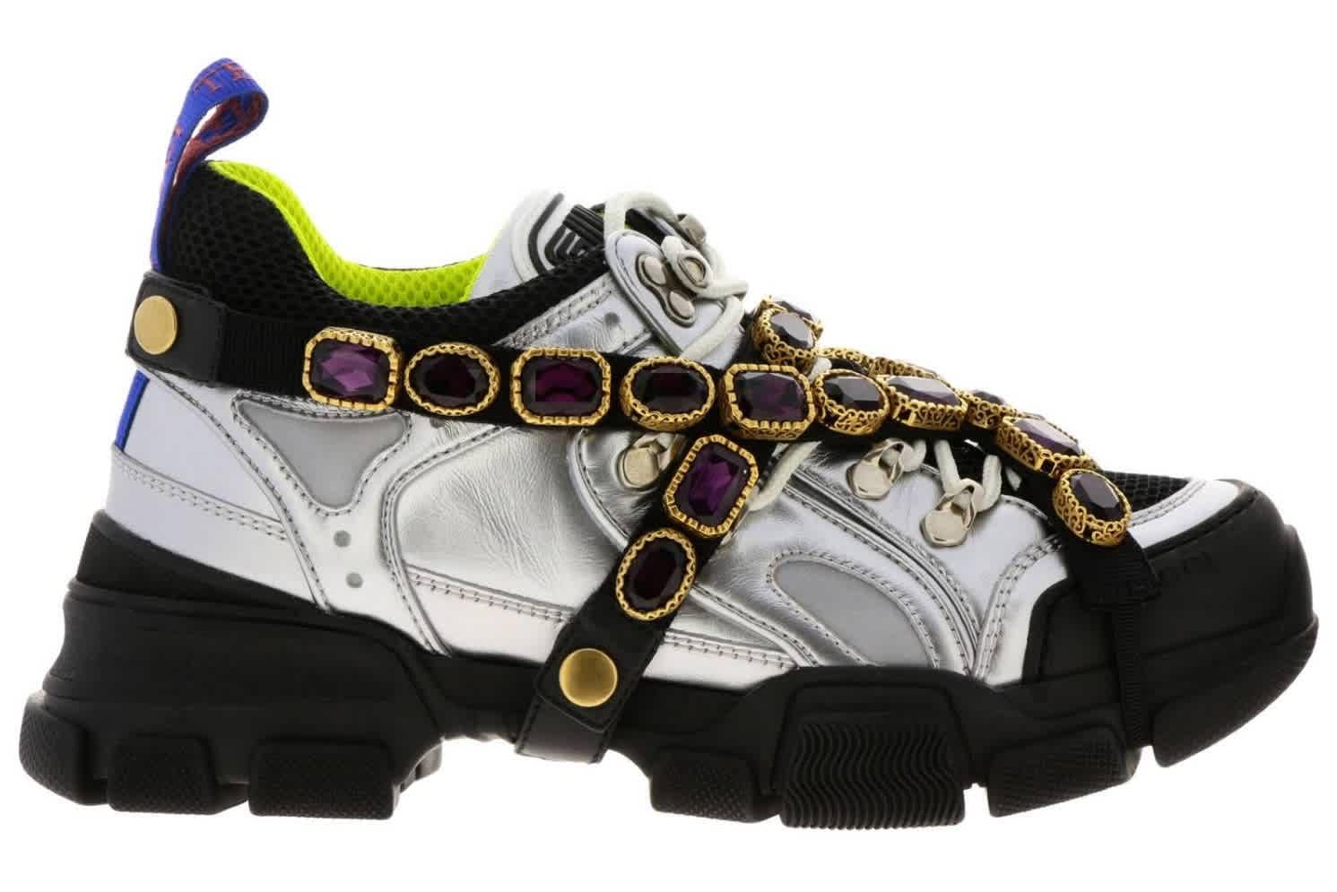 Gucci Ladies Silver Flashtrek Sneaker