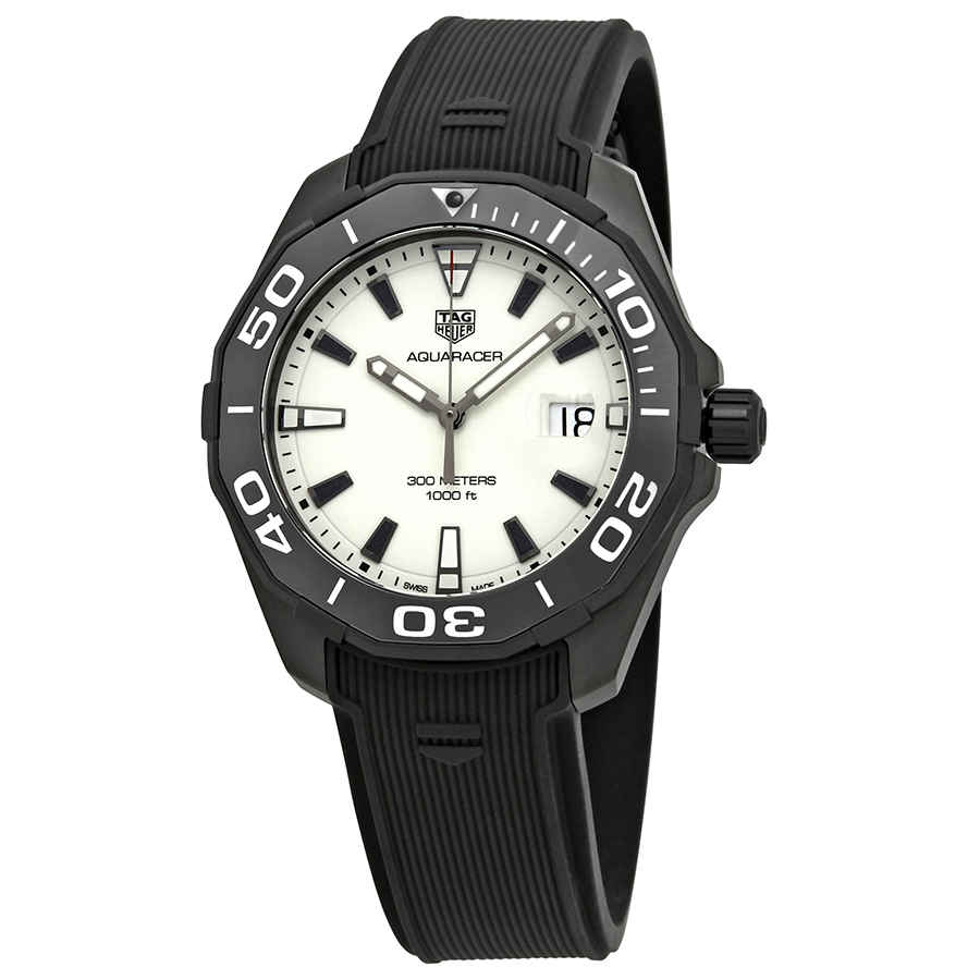 Details about New Tag Heuer Aquaracer White Dial Men's Rubber Strap Watch WAY108A.FT6141