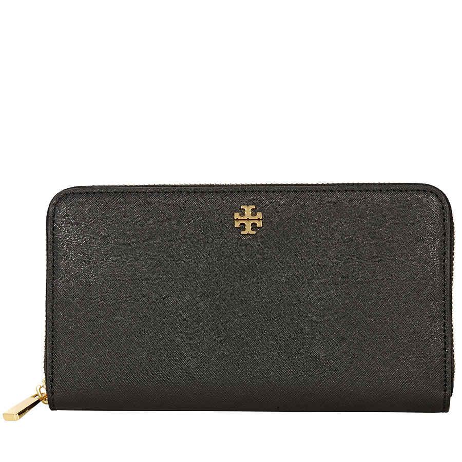ba14d432f57 Tory Burch Robinson Zip Continental Wallet- Black 11169071 ...