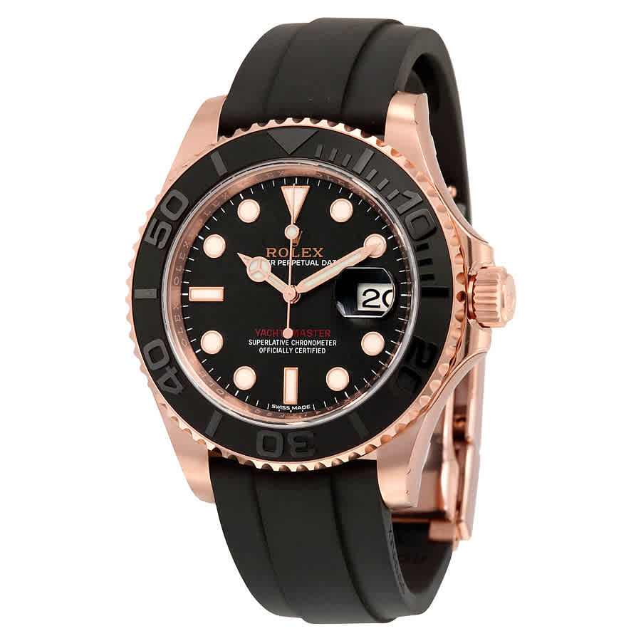 Details about Rolex Yacht,Master Automatic Black Dial 18kt Everose Gold  Black Rubber Strap